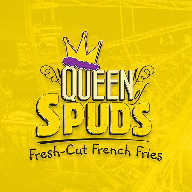 Ferris wheel with a yellow overlay and Queen of Spuds Fresh Cut French Fries logo overlaid