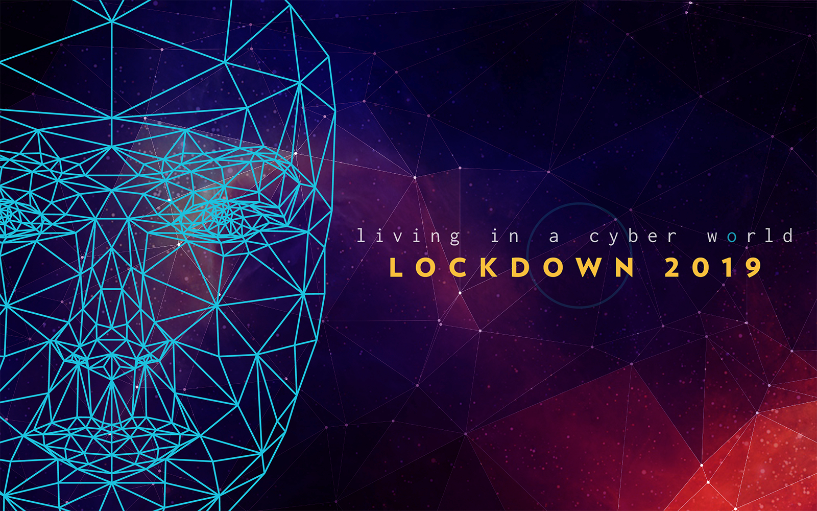 """Poly face on a space background with the """"living in a cyber world, Lockdown 2019"""" logo"""
