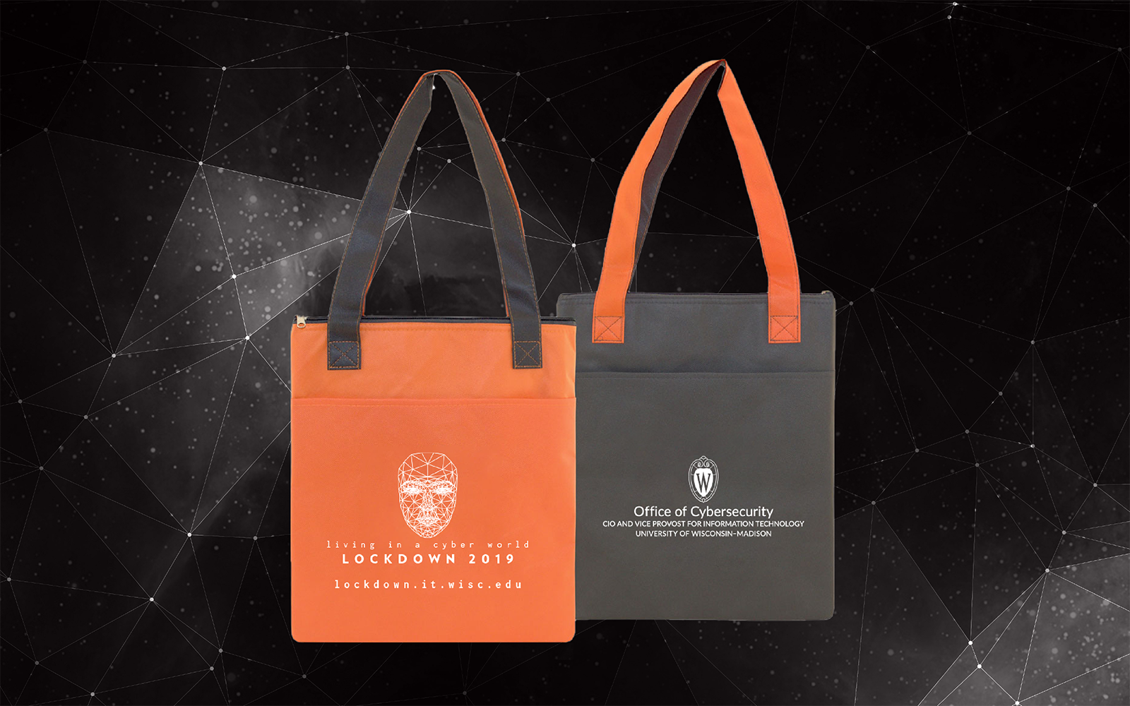 Lockdown logo on an orange and gray tote
